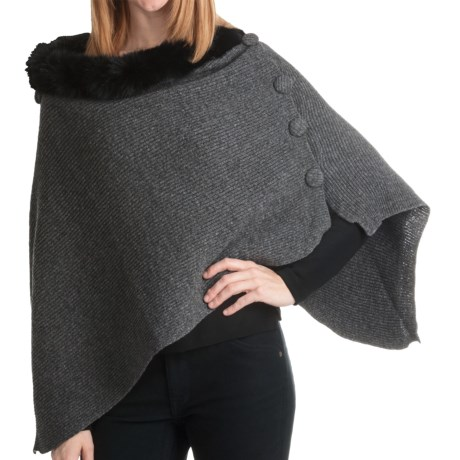 La Fiorentina Wool Poncho - Rabbit Fur Trim (For Women) in Black/Grey