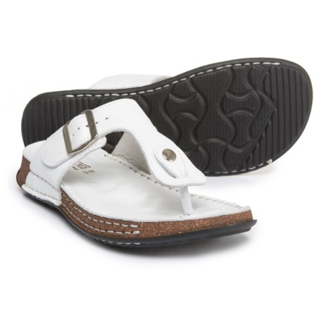 La Plume Cactus Comfort Sandals - Leather (For Women) in White Leather