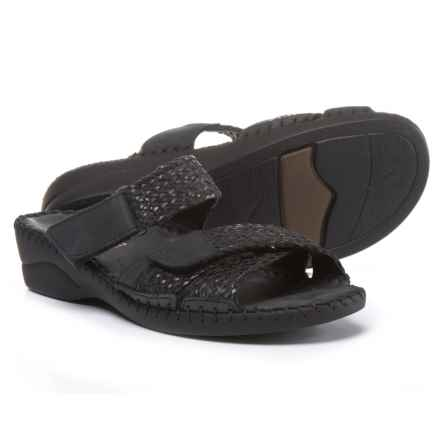 La Plume Claire Wedge Sandals - Leather (For Women) in Black - Closeouts