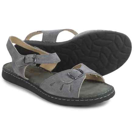 La Plume Trace Sandals - Leather (For Women) in Grey - Closeouts