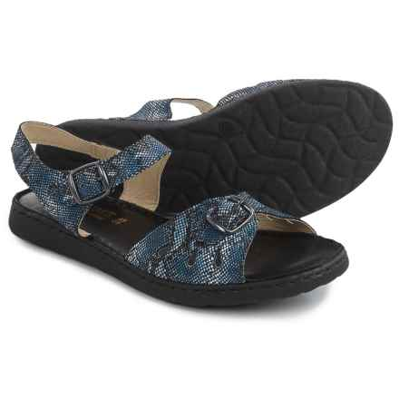 La Plume Trace Sandals - Leather (For Women) in Navy - Closeouts
