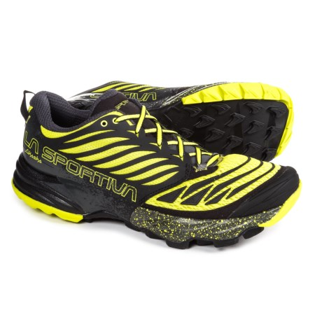 La Sportiva Akasha Trail Running Shoes (For Men) in Black/Sulphur