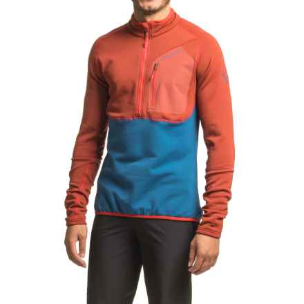 La Sportiva Icon 2.0 Polartec® Power Stretch® Pro Fleece Jacket - Zip Neck (For Men) in Dark Sea/Rust - Closeouts