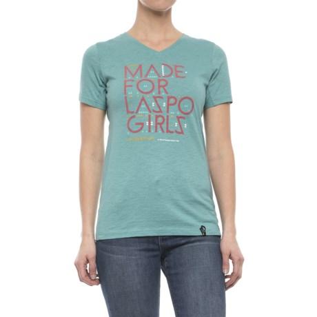 La Sportiva Made for LaSpo Girls T-Shirt - V-Neck, Short Sleeve (For Women) in Ice Blue
