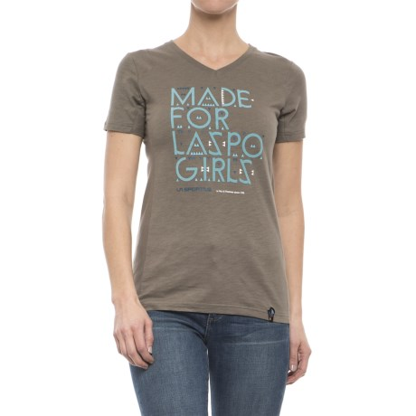 La Sportiva Made for LaSpo Girls T-Shirt - V-Neck, Short Sleeve (For Women) in Taupe