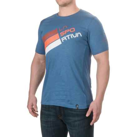 La Sportiva Stripe Logo T-Shirt - Short Sleeve (For Men) in Dark Sea - Closeouts