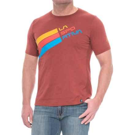 La Sportiva Stripe Logo T-Shirt - Short Sleeve (For Men) in Rust - Closeouts