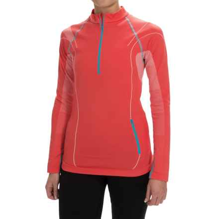 La Sportiva Venus Base Layer Top - Zip Neck, Long Sleeve (For Women) in Coral - Closeouts