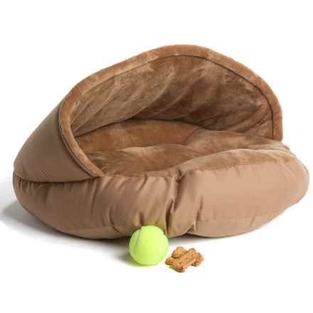 """La Ti Paw Hooded Bismark Dog Bed - 24"""" Round in Brown - Closeouts"""
