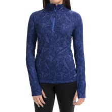 Lace Paisley Print Pullover Shirt - Zip Neck, Long Sleeve (For Women) in Blue Bell - Closeouts