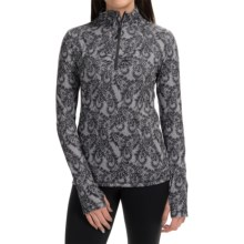 Lace Paisley Print Pullover Shirt - Zip Neck, Long Sleeve (For Women) in Nine Iron/Ivory - Closeouts