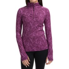 Lace Paisley Print Pullover Shirt - Zip Neck, Long Sleeve (For Women) in Pansy - Closeouts