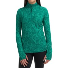 Lace Paisley Print Pullover Shirt - Zip Neck, Long Sleeve (For Women) in Seapine - Closeouts