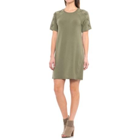 Lace-Shoulder Dress - Short Sleeve (For Women)