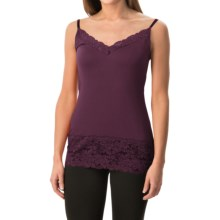 Lace Trim Knit V-Neck Camisole (For Women) in Port - 2nds