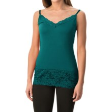 Lace Trim Knit V-Neck Camisole (For Women) in Teal - 2nds