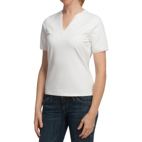 Lace-Trimmed Cotton T-Shirt - Short Sleeve (For Women) in White