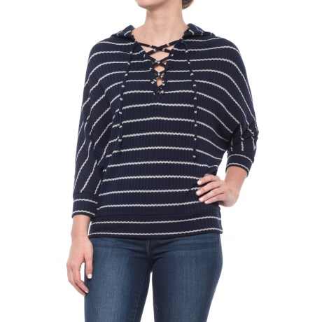Lace-Up Dolman Hoodie - 3/4 Sleeve (For Women)
