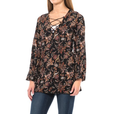 Lace-Up Printed Woven Tunic Shirt - Rayon, Long Sleeve (For Women) in Black