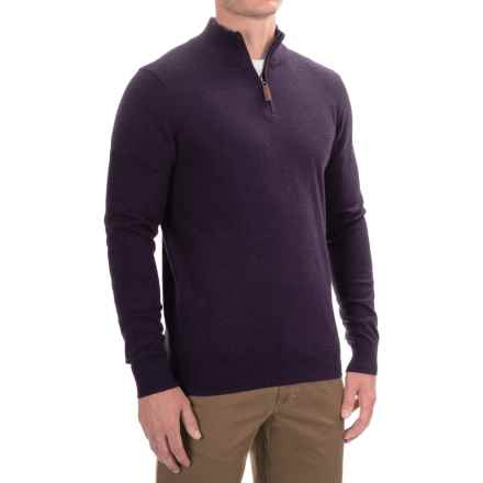 Lachlan Zip Neck Pullover Sweater (For Men) in Eggplant Heather - Closeouts