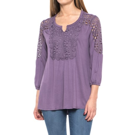 Lacy Peasant Blouse - 3/4 Sleeve (For Women)