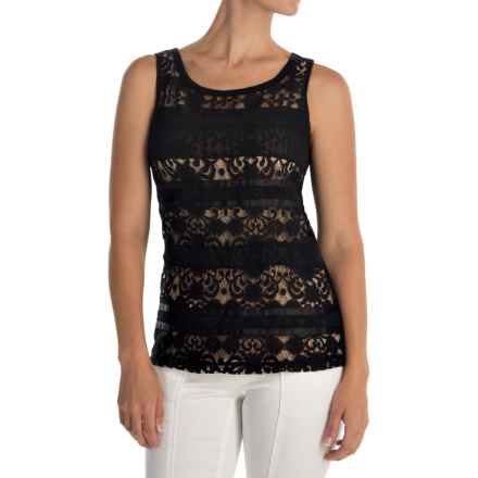 Lacy Stripes Tank Top (For Women) in Black - 2nds
