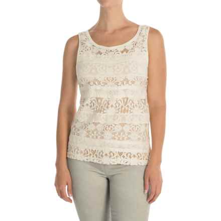 Lacy Stripes Tank Top (For Women) in Ivory - 2nds