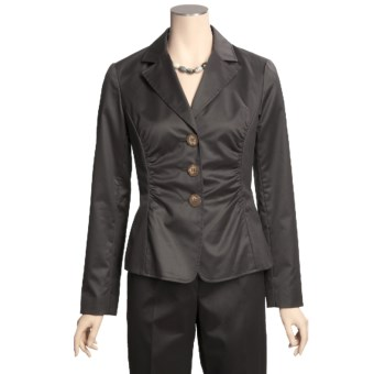 Lafayette 148 New York Allen Jacket - Glossy Suiting (For Women) in Espresso