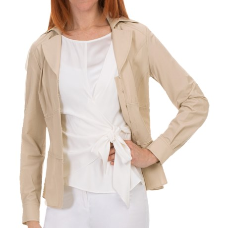 Lafayette 148 New York Amara Blouse - Matte Silk, Long Sleeve (For Women) in Beige