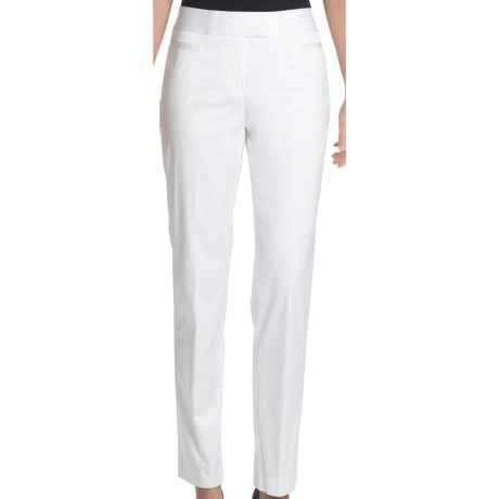 Lafayette 148 New York Ankle Pants - Stretch Cotton Sateen (For Women) in White