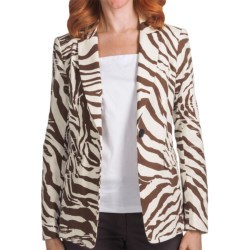 Lafayette 148 New York Antibes Canvas Cloth Mackenzie Jacket (For Women) in Coconut Multi