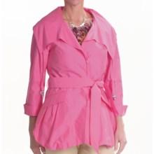 Lafayette 148 New York Archer Ocean Drive Coat - Cotton-Silk, 3/4 Sleeve (For Women) in Azalea - Closeouts