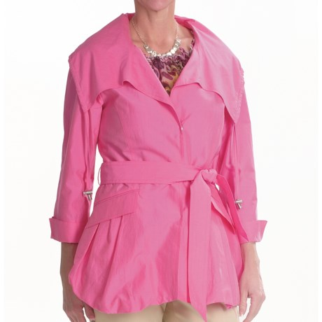 Lafayette 148 New York Archer Ocean Drive Coat - Cotton-Silk, 3/4 Sleeve (For Women) in Azalea
