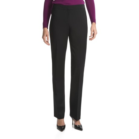 Lafayette 148 New York Barrow Contemporary Straight Leg Front-Zip Pants - Stretch Wool (For Women) in Black