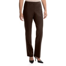 Lafayette 148 New York Barrow Contemporary Straight Leg Front-Zip Pants - Stretch Wool (For Women) in Espresso - Closeouts