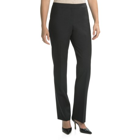 Lafayette 148 New York Barrow Contemporary Straight Leg Front-Zip Pants - Stretch Wool (For Women) in Smoke
