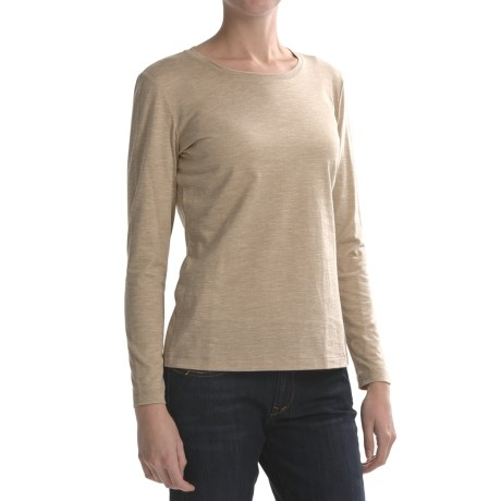 Lafayette 148 New York Basic Heathered Cotton Shirt - Long Sleeve (For Women) in Oatmeal