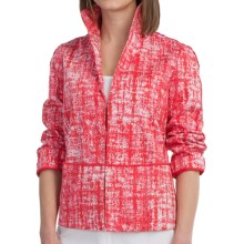 Lafayette 148 New York Bellene Stretch Cotton Jacket - 3/4 Sleeve (For Women) in Rosehip Multi - Closeouts