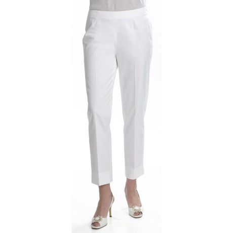 Lafayette 148 New York Bleecker Crop Pants - Stretch Cotton Sateen (For Women) in White