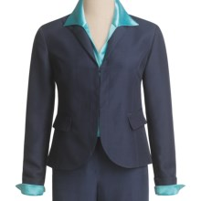 Lafayette 148 New York Chandler Jacket - Wool Trellis Suiting (For Women) in Light Navy - Closeouts