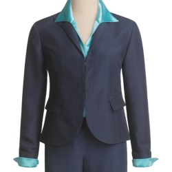 Lafayette 148 New York Chandler Jacket - Wool Trellis Suiting (For Women) in Light Navy