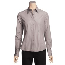Lafayette 148 New York Cotton Fine Line Shirt - Long Sleeve (For Women) in Espresso - Closeouts