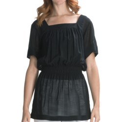 Lafayette 148 New York Crinkle Gauze Shirt - Wool, Short Sleeve (For Women) in Black
