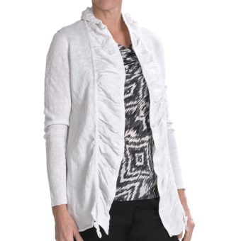 Lafayette 148 New York Crinkle Linen Cardigan Sweater (For Women) in White