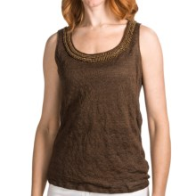 Lafayette 148 New York Crinkled Linen Tank Top - Beaded Neckline (For Women) in Coconut Melange - Closeouts