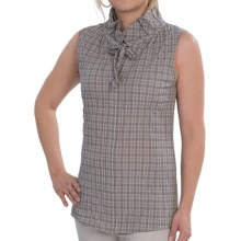 Lafayette 148 New York Crinkled Plaid Shipley Blouse - Sleeveless (For Women) in Fog Multi - Closeouts