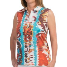 Lafayette 148 New York Daisy Blouse - Stretch Cotton, Sleeveless (For Women) in Persimmon Multi - Closeouts
