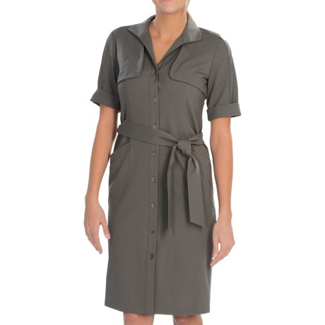Lafayette 148 New York Eugena Contemporary Wool Stretch Dress - Short Sleeve (For Women) in Shale