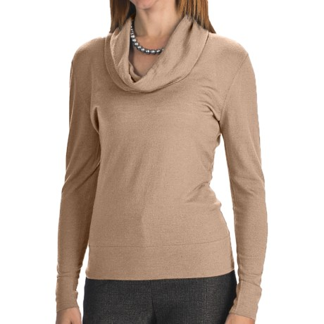 Lafayette 148 New York Fine Gauge Merino Wool Sweater - Cowl Neck (For Women) in Pebble