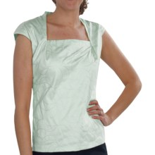 Lafayette 148 New York Giada Embroidered Shirt - Interlock Cotton, Short Sleeve (For Women) in Seafoam - Closeouts